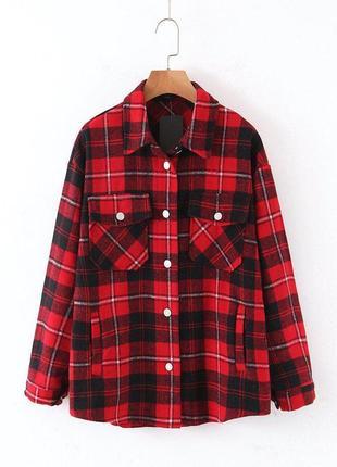 Рубашка женская тренд теплая оверсайз в клетку красная 💔💔💔