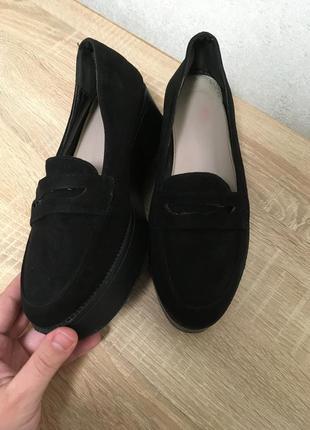 Туфли замш на платформе