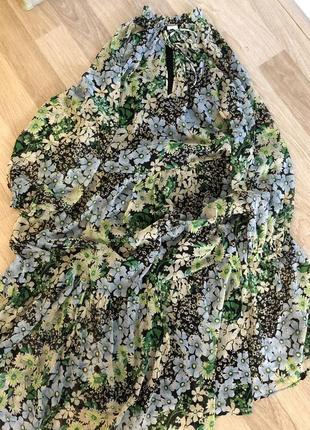 Платье h&m объёмные рукава парашют  рюши в цветы