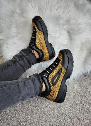 Черные женские кроссовки, леопардовые fila