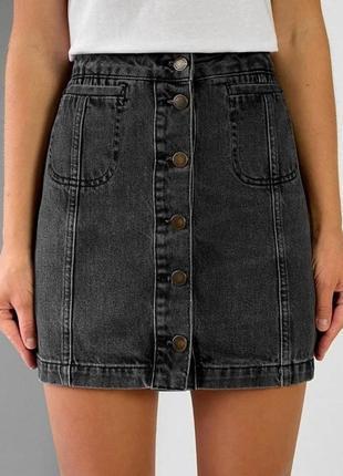 Джинсовая юбка мини короткая черная на пуговицах джинсова спідниця міні коротка чорна