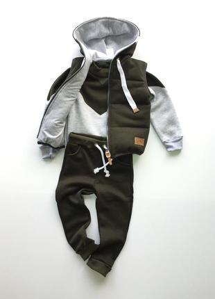Костюм тройка с начёсом цвет оливка : штаны, джемпер, жилет