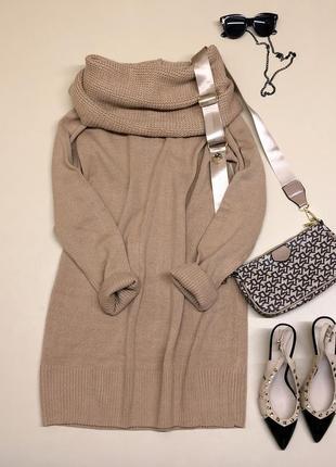 Платье-туника карамельного цвета