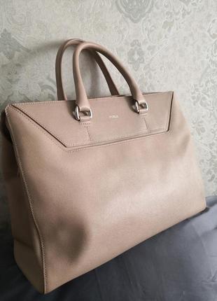 Vip!!! роскошная большая статусная сумка из кожи сафьяно furla👜👜🌹🌹🐥🔥