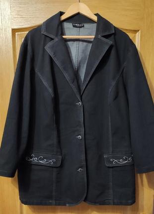 Черная стрейчевая джинсовая куртка, пиджак, джинсовка, батал