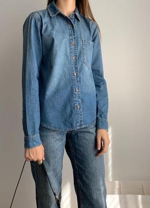 Джинсовая рубашка джинсовка сорочка джинсова