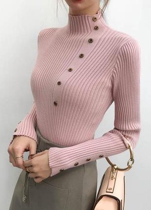 Гольф с пуговицами розовый оверсайз