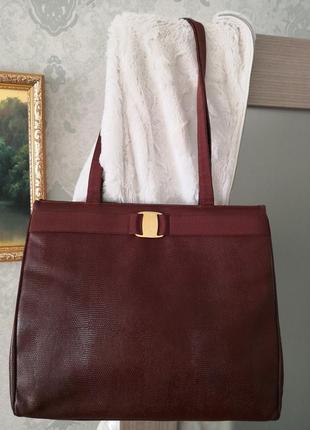 Большая стильная кожаная сумка salvatore ferragamo👜👜👜💥💥🔥