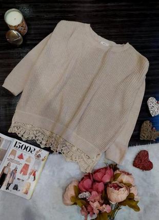 Крутой свитер английской вязки с кружевом размер  42-48