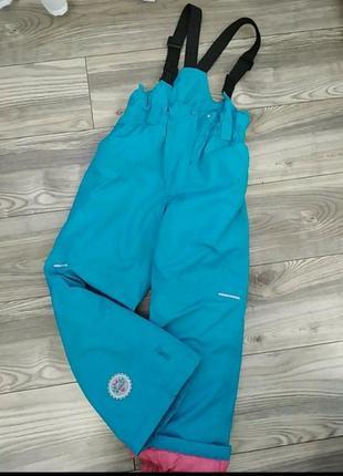 Красивые фирменные теплые лыжные штаны, полукомбинезон