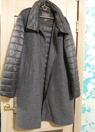 Крутое комбинированное пальто geox шерсть и плащевка