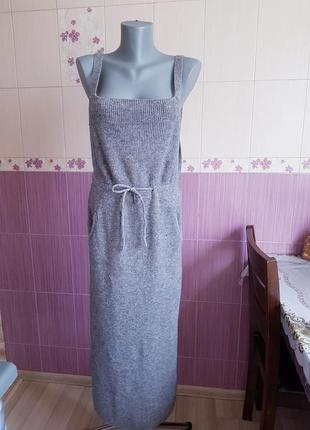 Вязаный теплый серый сарафан h&m длинный миди