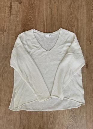 Белая кофта оверсайз, в составе шерсть