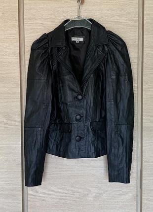 Куртка кожаная ретро стиль дизайнерская премиум бренд margit brandt размер s/m