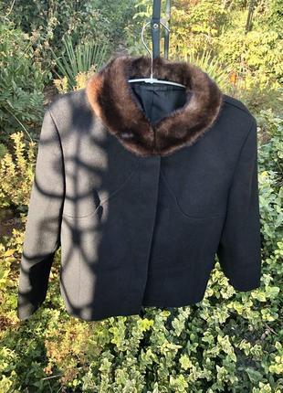 Шикарный брендовый шерстяной пиджак / пальто с норкой от fischer gottinger☘️
