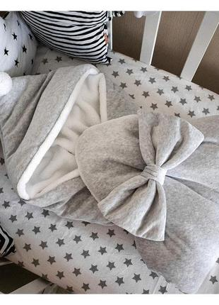 Зимний теплый конверт одеяло капюшон+теплая белая шапочка фото реал.