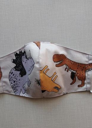 Детская  маска  с  динозаврами с хлопка