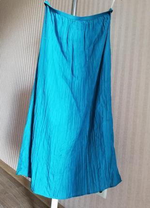 Шёлковая юбка миди шелк бирюза бирюзовая голубая