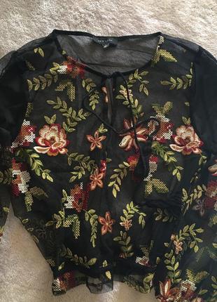 Блуза сетка с вышивкой