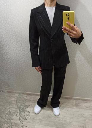 Стильный трендовый черный костюм / пиджак / жакет / брюки