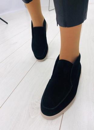 Лоферы чёрные замша. женские ботинки замша