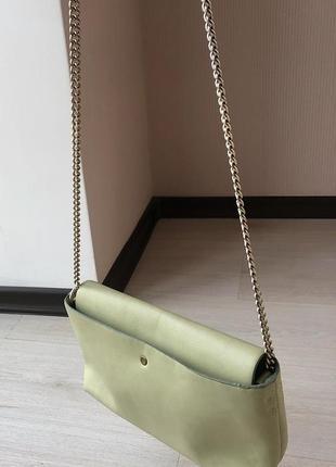 Сумочка зара на длинном ремешке zara клатч  сумка фисташковая зелёная мятная ментоловая