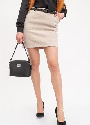 Женская кашемировая юбка бежевого цвета с карманами s-m;s;xs-s;xs