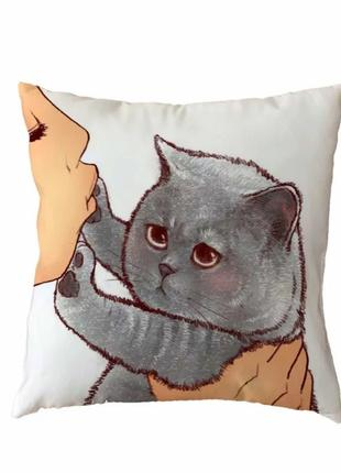Милая 🐺🐺🐺45х45 декоративная наволочка кот кошка