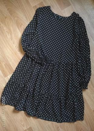 Свободное платье в горошек