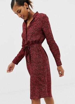 Sale красное платье рубашка в леоппардовый принт
