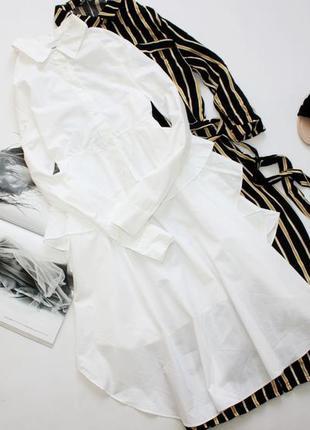 Крутая рубашка платье белая л 12
