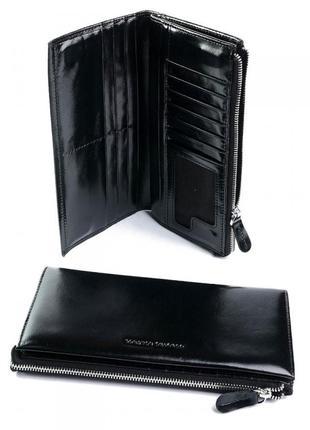 Чорний шкіряний гаманець