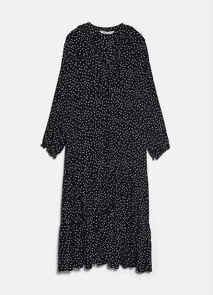 Шикарное платье миди в горошек zara collection 2020