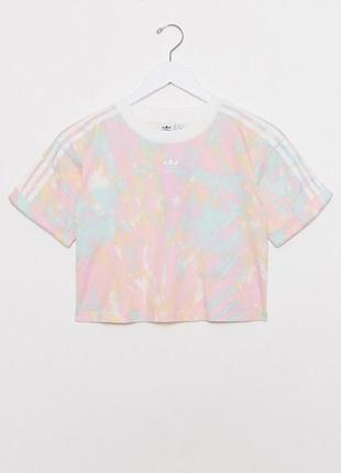Розовая тай дай футболка кроп топ cropped t shirt adidas originals tie dye