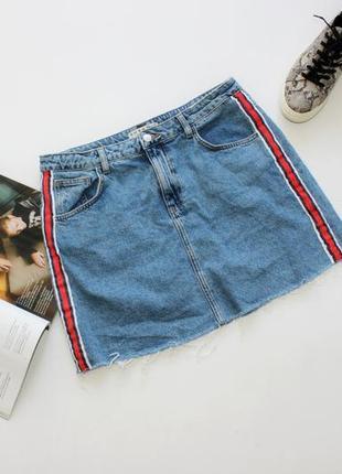 Классная джинсовая юбка трапеция с лампасами 14 хл