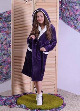 Пушистый махровый халат и сапожки 1646