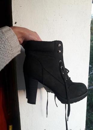 Ботинки ботильоны на шнуровке под замш
