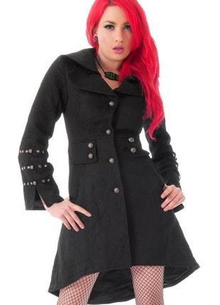 Брендовое черное фактурное демисезонное пальто с карманами милитари hearts & roses коттон