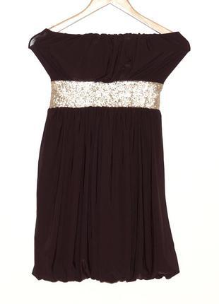 Нарядное платье-баллон без бретелек, s-m