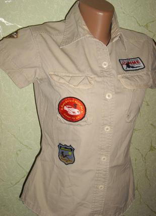 Рубашка тонкий джинс хлопок беж карманы на кнопках  p 38/ hoosh