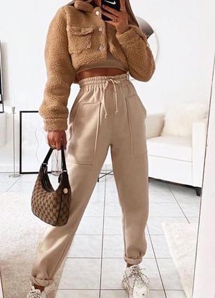 💫новинка 💫 спортивные штаны с накладными карманами на флисе