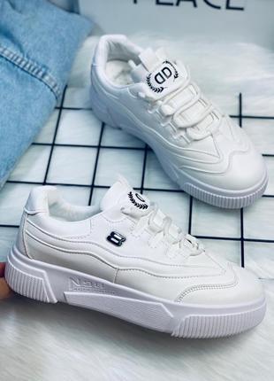 Кроссовки кеды белые иск кожа