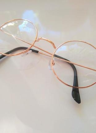 Золотистые круглые имиджевые очки для стиля имиджа окуляри унисекс гарри поттер