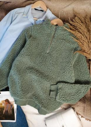 Фисташковый зелёный худи с кольцом свитшот тедди куртка анорак райта как asos zara h&m