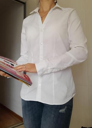 Белая рубашка р. 42 h&m с длинным рукавом