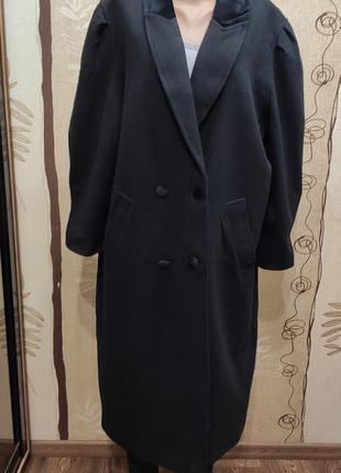 Чёрное шерстяное длинное прямое демисезонное пальто
