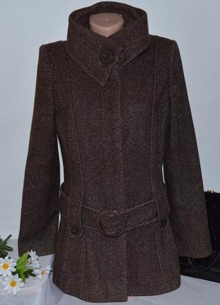 Коричневое шерстяное демисезонное пальто с поясом и карманами jane norman румыния