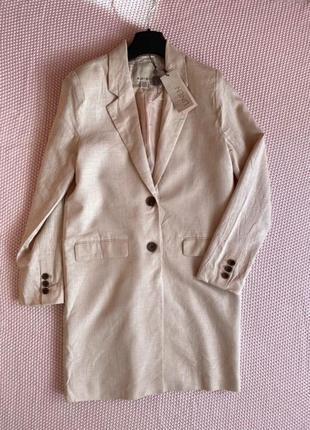 Новый с этикетками актуальный нюдовый льняной длинный пиджак жакет тренч amisu