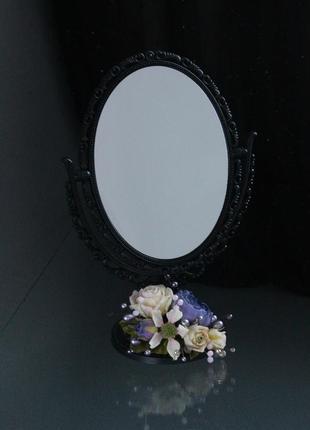 Подарочное зеркало с цветами ручной работы.