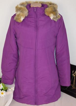 Фиолетовая утепленная куртка с капюшоном и карманами cotton traders синтепон этикетка